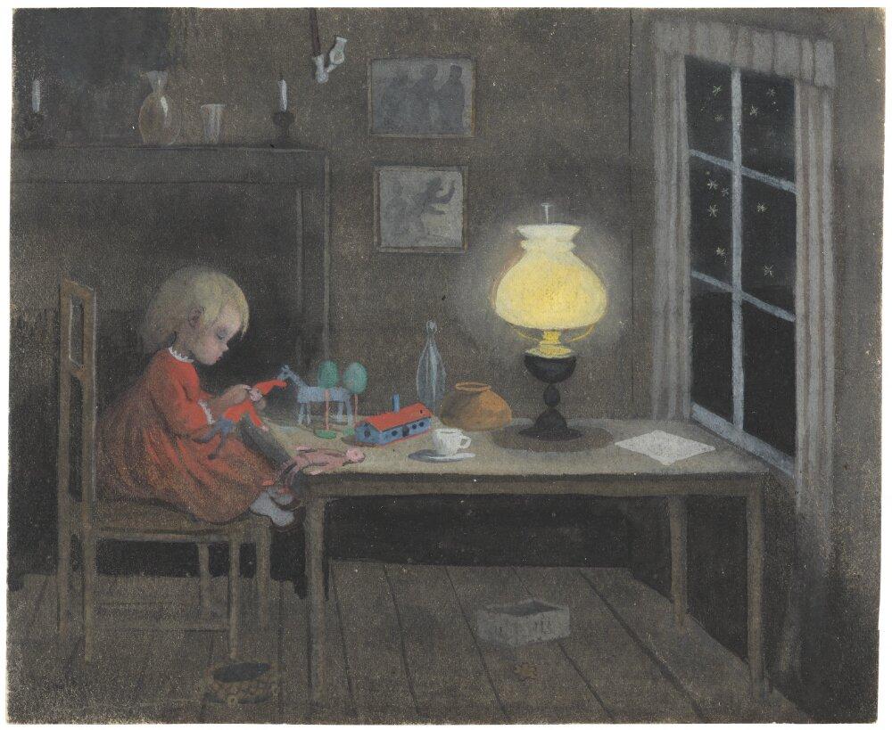 Ivar Arosenius: Baby Girl with Toys (1908). Museo Nacional de Suecia.