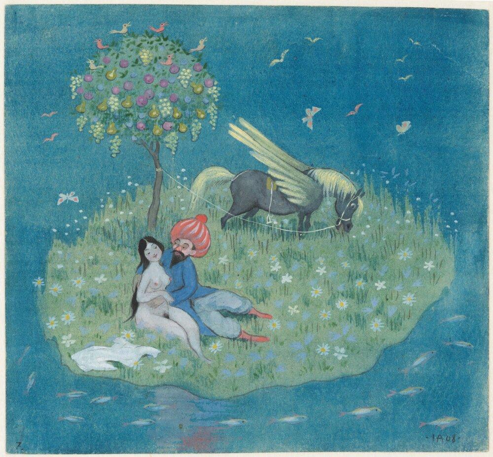 Ivar Arosenius: Ben Onis dröm. Serie om 8 akvareller. 7, Nu har solen runnit upp och vinghästen landat på en underbar ö (1908). Museo Nacional de Suecia.