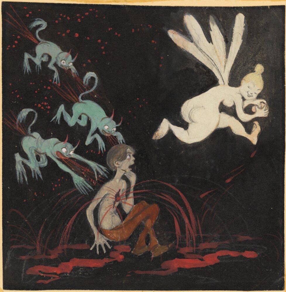 Ivar Arosenius: El corazón roto (Autorretrato) (1903-1904). Museo Nacional de Suecia.