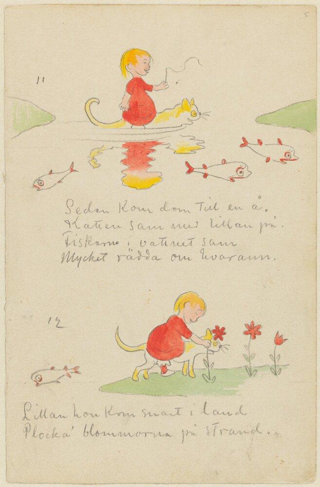 Ivar Arosenius: Lillans kattresa, sidan 5. Museo Nacional de Suecia.