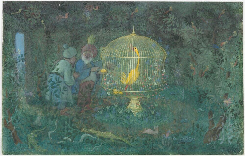 Ivar Arosenius: Kalifens guldfågel (1908). El pájaro dorado del califa. Museo Nacional de Suecia.
