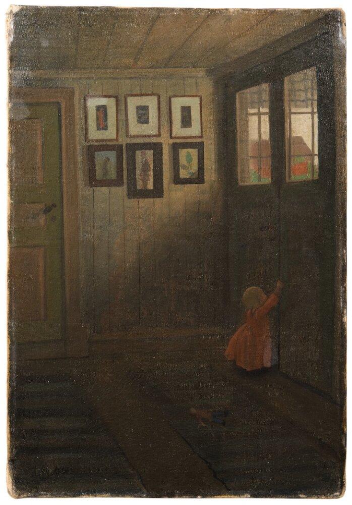 Ivar Arosenius: The Girl at the Door. Interior of the Artist's home (1908). Museo Nacional de Suecia.