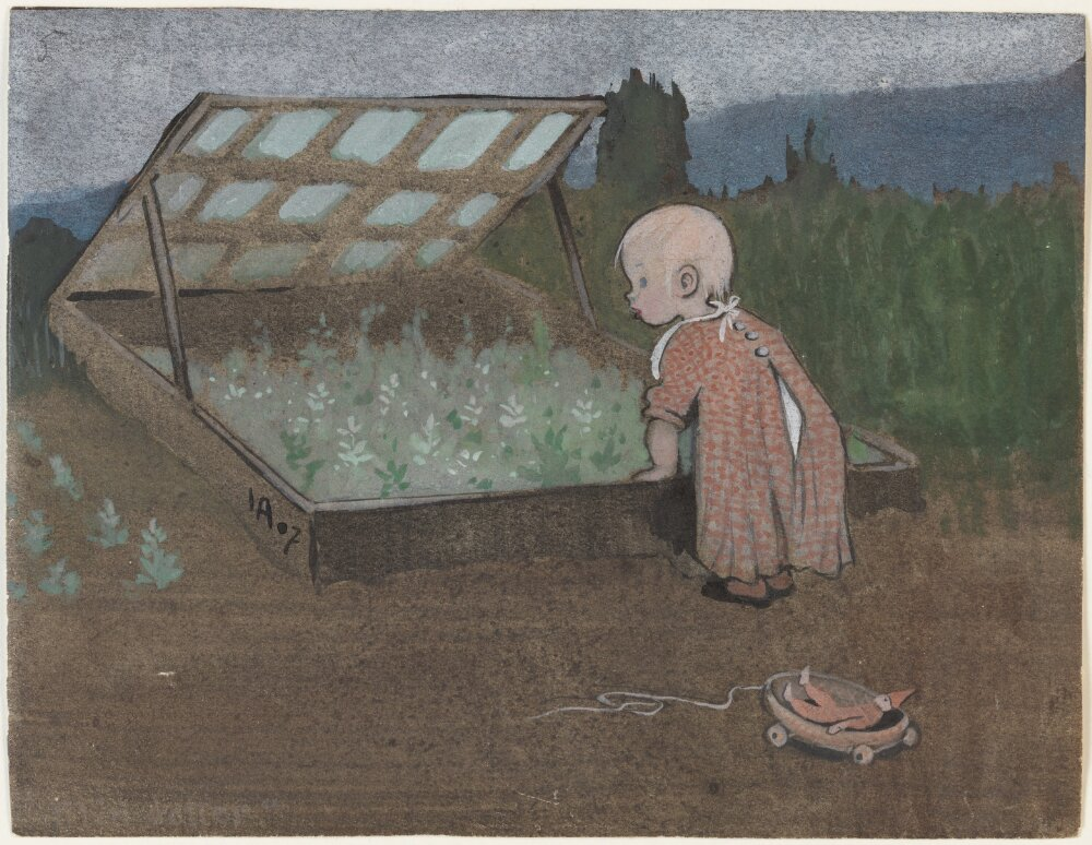 Ivar Arosenius: Lillan vid en drivbänk. Museo Nacional de Suecia.